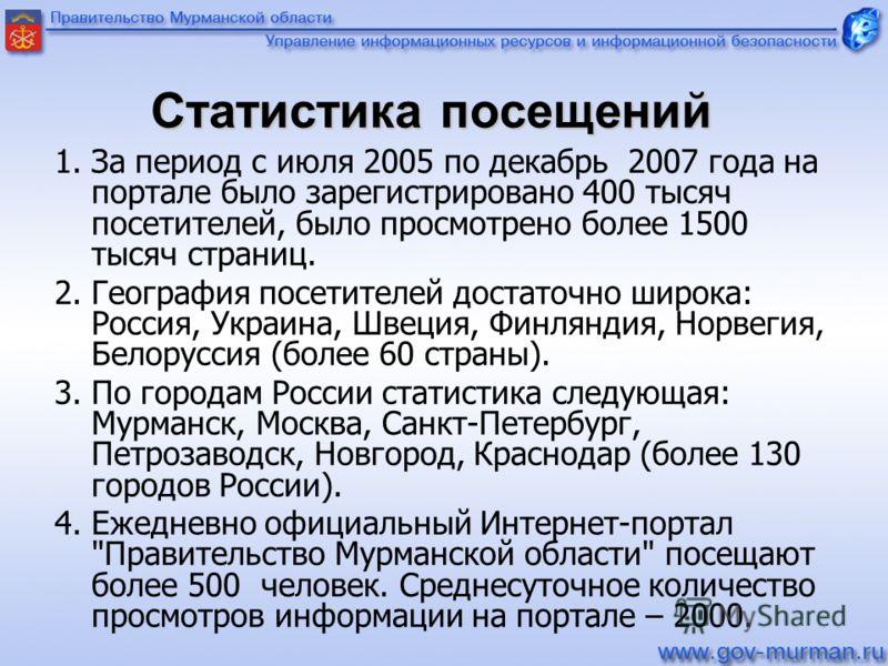 Статистика посещений 1. За период с июля 2005 по декабрь 2007 года на портале было зарегистрировано 400 тысяч посетителей, было просмотрено более 1500 тысяч страниц. 2. География посетителей достаточно широка: Россия, Украина, Швеция, Финляндия, Норв