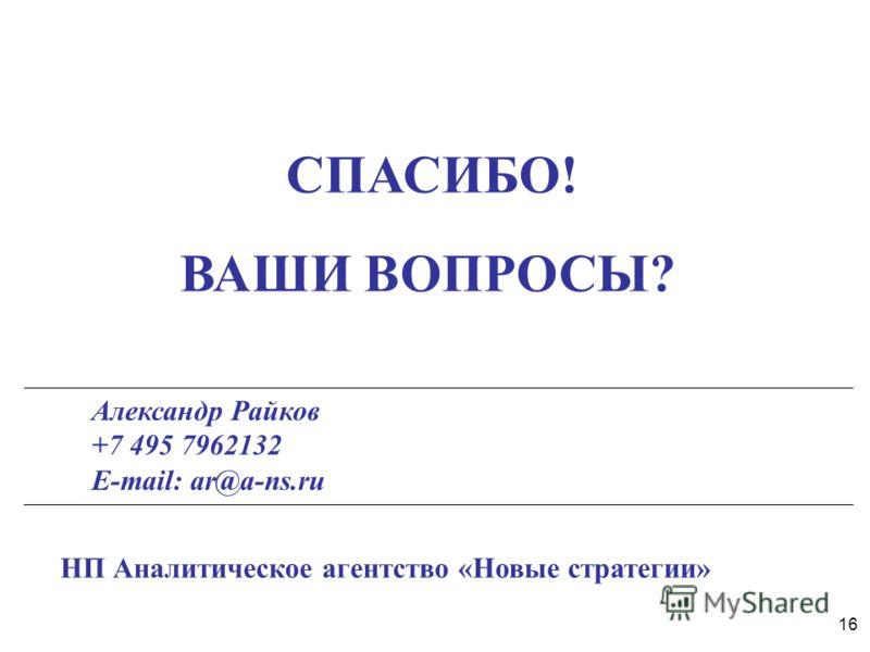 16 СПАСИБО! ВАШИ ВОПРОСЫ? Александр Райков +7 495 7962132 E-mail: ar@a-ns.ru НП Аналитическое агентство «Новые стратегии»