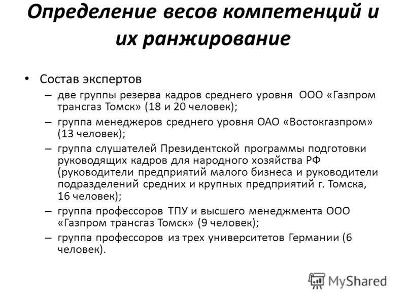 Определение весов компетенций и их ранжирование Состав экспертов – две группы резерва кадров среднего уровня ООО «Газпром трансгаз Томск» (18 и 20 человек); – группа менеджеров среднего уровня ОАО «Востокгазпром» (13 человек); – группа слушателей Пре