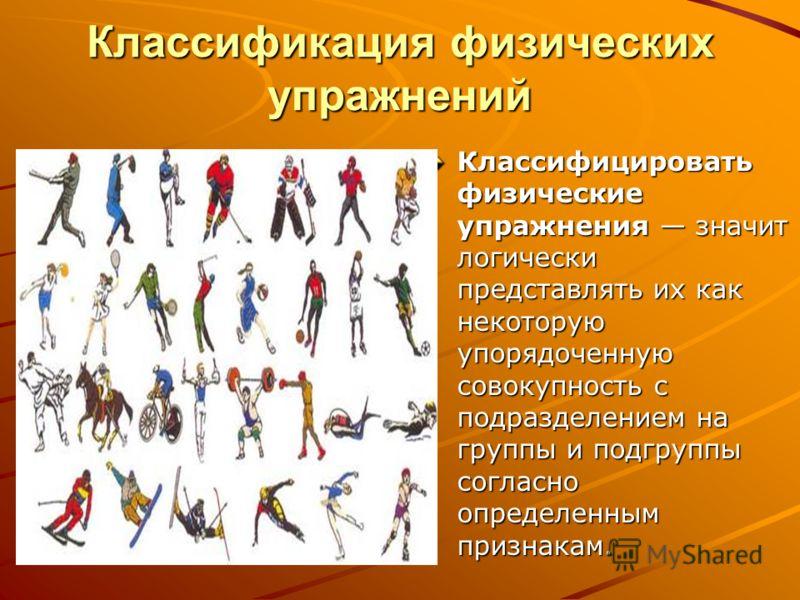 Классификация физических упражнений Классифицировать физические упражнения значит логически представлять их как некоторую упорядоченную совокупность с подразделением на группы и подгруппы согласно определенным признакам.