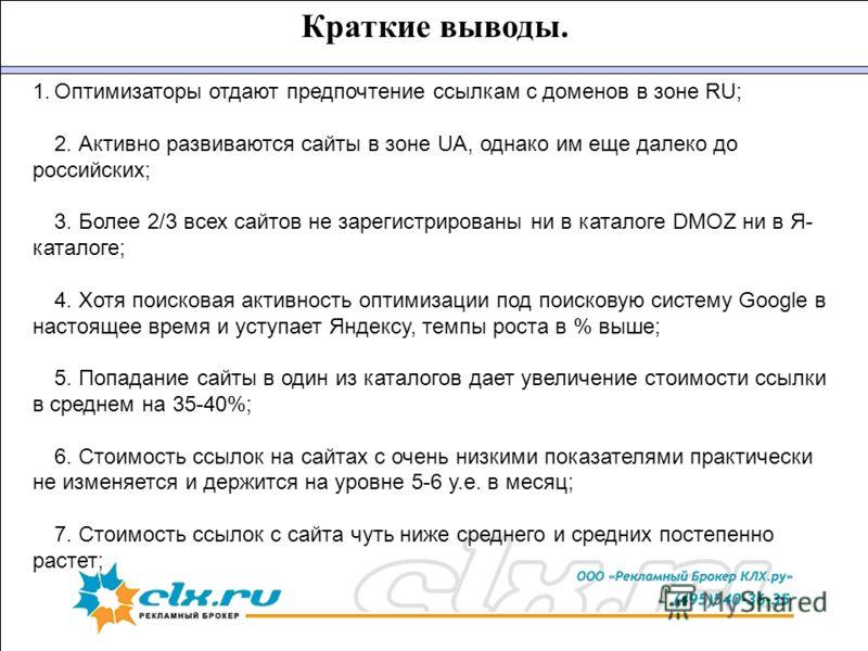 Краткие выводы. 1. 1.Оптимизаторы отдают предпочтение ссылкам с доменов в зоне RU; 2. Активно развиваются сайты в зоне UA, однако им еще далеко до российских; 3. Более 2/3 всех сайтов не зарегистрированы ни в каталоге DMOZ ни в Я- каталоге; 4. Хотя п
