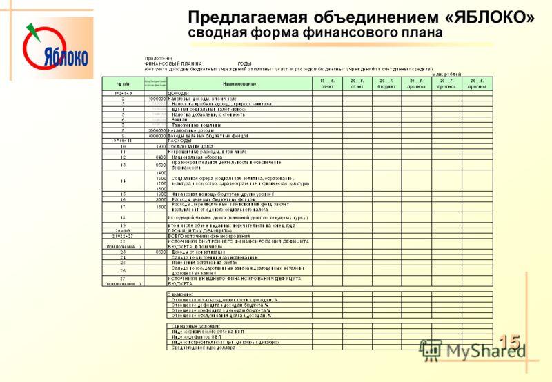 Предлагаемая объединением «ЯБЛОКО» сводная форма финансового плана 15