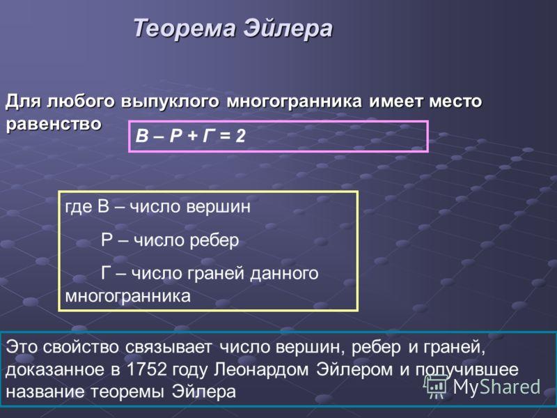 Для любого выпуклого многогранника имеет место равенство В – Р + Г = 2 где В – число вершин Р – число ребер Г – число граней данного многогранника Это свойство связывает число вершин, ребер и граней, доказанное в 1752 году Леонардом Эйлером и получив