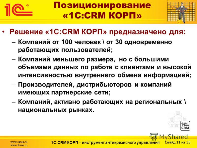 Слайд 11 из 35 www.rarus.ru www.1crm.ru 1С:CRM КОРП – инструмент антикризисного управления Позиционирование «1С:CRM КОРП» Решение «1С:CRM КОРП» предназначено для: –Компаний от 100 человек \ от 30 одновременно работающих пользователей; –Компаний меньш