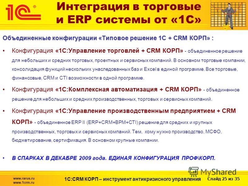 Слайд 25 из 35 www.rarus.ru www.1crm.ru 1С:CRM КОРП – инструмент антикризисного управления Интеграция в торговые и ERP системы от «1С» Объединенные конфигурации «Типовое решение 1С + CRM КОРП» : Конфигурация «1С:Управление торговлей + CRM КОРП» - объ