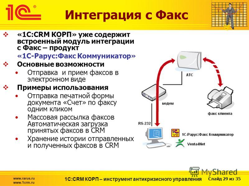 Слайд 29 из 35 www.rarus.ru www.1crm.ru 1С:CRM КОРП – инструмент антикризисного управления Интеграция с Факс «1С:CRM КОРП» уже содержит встроенный модуль интеграции с Факс – продукт «1С-Рарус:Факс Коммуникатор» Основные возможности Отправка и прием ф