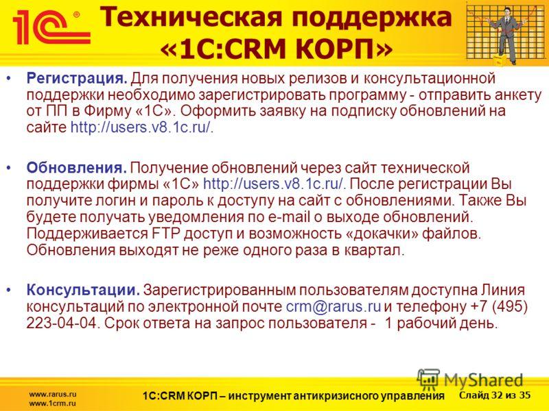 Слайд 32 из 35 www.rarus.ru www.1crm.ru 1С:CRM КОРП – инструмент антикризисного управления Техническая поддержка «1С:CRM КОРП» Регистрация. Для получения новых релизов и консультационной поддержки необходимо зарегистрировать программу - отправить анк