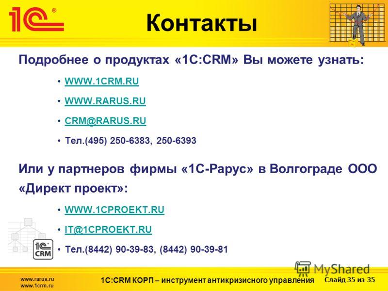 Слайд 35 из 35 www.rarus.ru www.1crm.ru 1С:CRM КОРП – инструмент антикризисного управления Подробнее о продуктах «1С:CRM» Вы можете узнать: WWW.1CRM.RU WWW.RARUS.RU CRM@RARUS.RU Тел.(495) 250-6383, 250-6393 Или у партнеров фирмы «1С-Рарус» в Волгогра