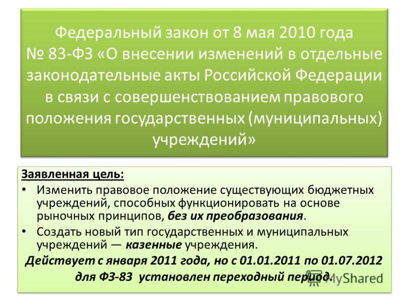 Федеральный закон от 8 мая 2010 года 83-ФЗ «О внесении изменений в отдельные законодательные акты Российской Федерации в связи с совершенствованием правового положения государственных (муниципальных) учреждений» Заявленная цель: Изменить правовое пол