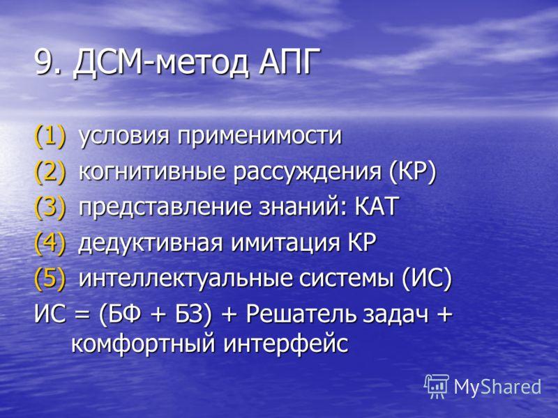 9. ДСМ-метод АПГ (1) условия применимости (2) когнитивные рассуждения (КР) (3) представление знаний: КАТ (4) дедуктивная имитация КР (5) интеллектуальные системы (ИС) ИС = (БФ + БЗ) + Решатель задач + комфортный интерфейс