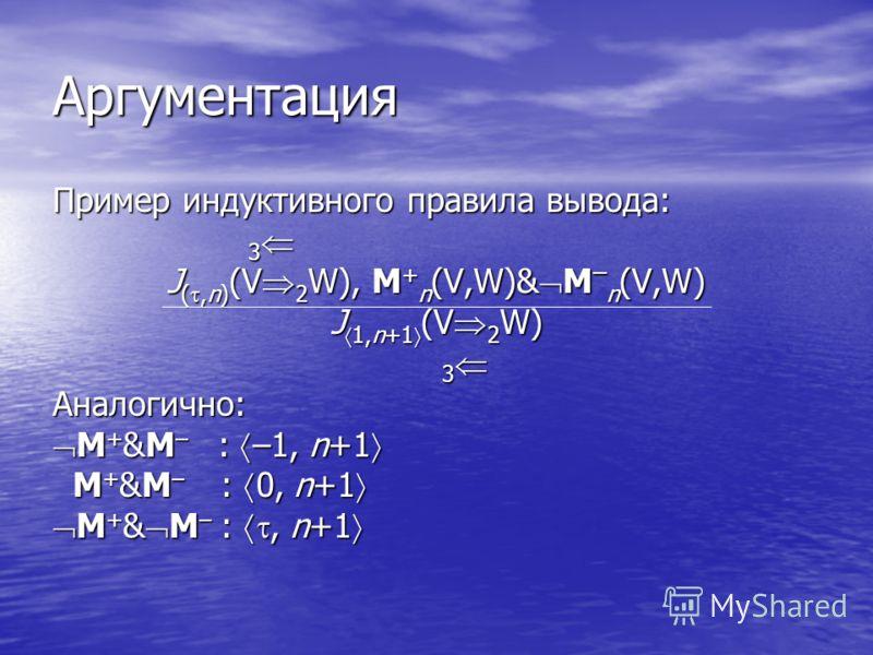 Аргументация Пример индуктивного правила вывода: 3 3 J (,n) (V 2 W), M + n (V,W)& M – n (V,W) J 1,n+1 (V 2 W) 3 3 Аналогично: M + &M – : –1, n+1 M + &M – : –1, n+1 M + &M – : 0, n+1 M + &M – : 0, n+1 M + & M – :, n+1 M + & M – :, n+1