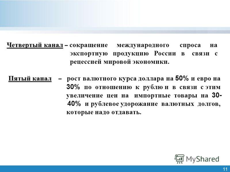 11 Четвертый канал Четвертый канал – сокращение международного спроса на экспортную продукцию России в связи с рецессией мировой экономики. Пятый канал Пятый канал – рост валютного курса доллара на 50% и евро на 30% по отношению к рублю и в связи с э