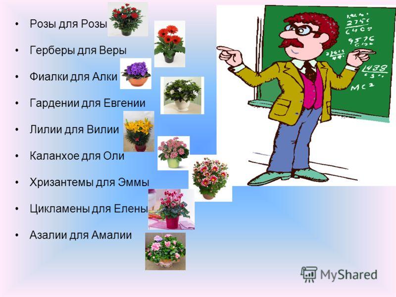 Розы для Розы Герберы для Веры Фиалки для Алки Гардении для Евгении Лилии для Вилии Каланхое для Оли Хризантемы для Эммы Цикламены для Елены Азалии для Амалии