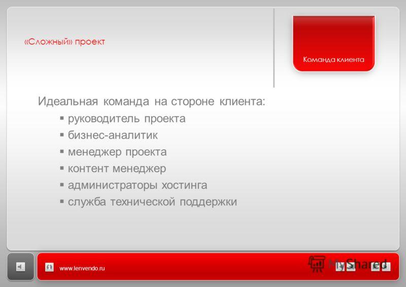 «Сложный» проект www.lenvendo.ru Идеальная команда на стороне клиента: руководитель проекта бизнес-аналитик менеджер проекта контент менеджер администраторы хостинга служба технической поддержки Команда клиента