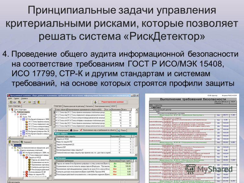 4. Проведение общего аудита информационной безопасности на соответствие требованиям ГОСТ Р ИСО/МЭК 15408, ИСО 17799, СТР-К и другим стандартам и системам требований, на основе которых строятся профили защиты