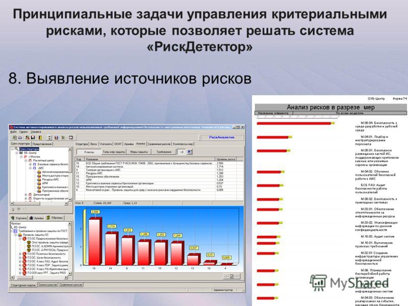 Принципиальные задачи управления критериальными рисками, которые позволяет решать система «РискДетектор» 8. Выявление источников рисков