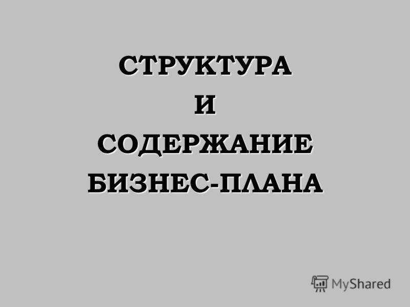 СТРУКТУРАИСОДЕРЖАНИЕБИЗНЕС-ПЛАНА