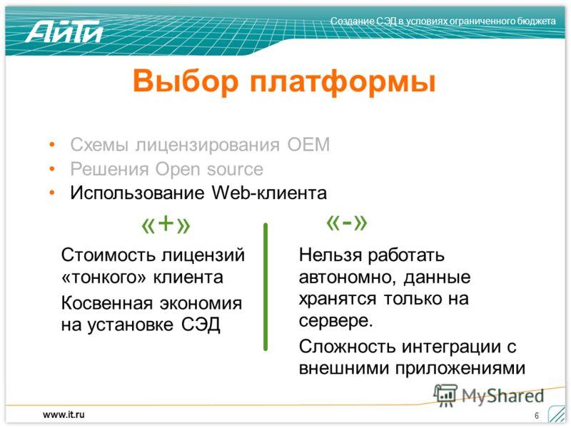 Создание СЭД в условиях ограниченного бюджета www.it.ru 6 Выбор платформы Стоимость лицензий «тонкого» клиента Косвенная экономия на установке СЭД Нельзя работать автономно, данные хранятся только на сервере. Сложность интеграции с внешними приложени