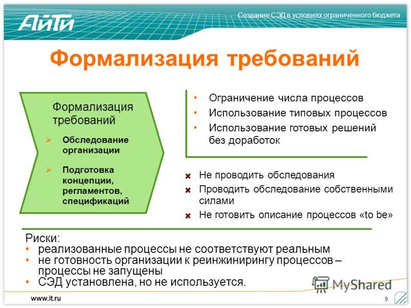 Создание СЭД в условиях ограниченного бюджета www.it.ru 9 Формализация требований Риски: реализованные процессы не соответствуют реальным не готовность организации к реинжинирингу процессов – процессы не запущены СЭД установлена, но не используется.
