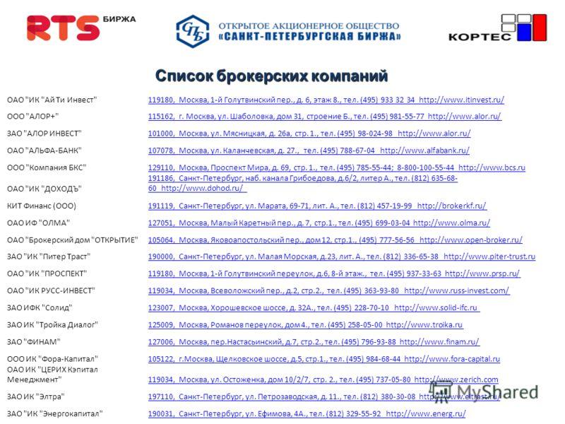 Список брокерских компаний ОАО
