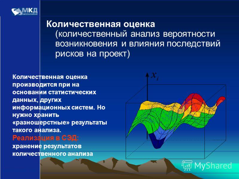 www.mcd-pkf.com Количественная оценка (количественный анализ вероятности возникновения и влияния последствий рисков на проект) Количественная оценка производится при на основании статистических данных, других информационных систем. Но нужно хранить «