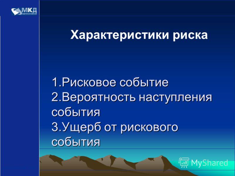 www.mcd-pkf.com 1.Рисковое событие 2.Вероятность наступления события 3.Ущерб от рискового события Характеристики риска