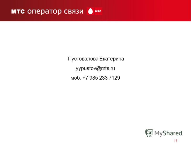 13 Пустовалова Екатерина yypustov@mts.ru моб. +7 985 233 7129