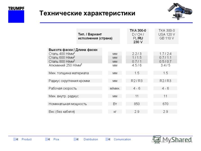 TCHG215sh - TKA 300-0 -20.9.02, 9 DistributionPiceComunicationProduct Технические характеристики