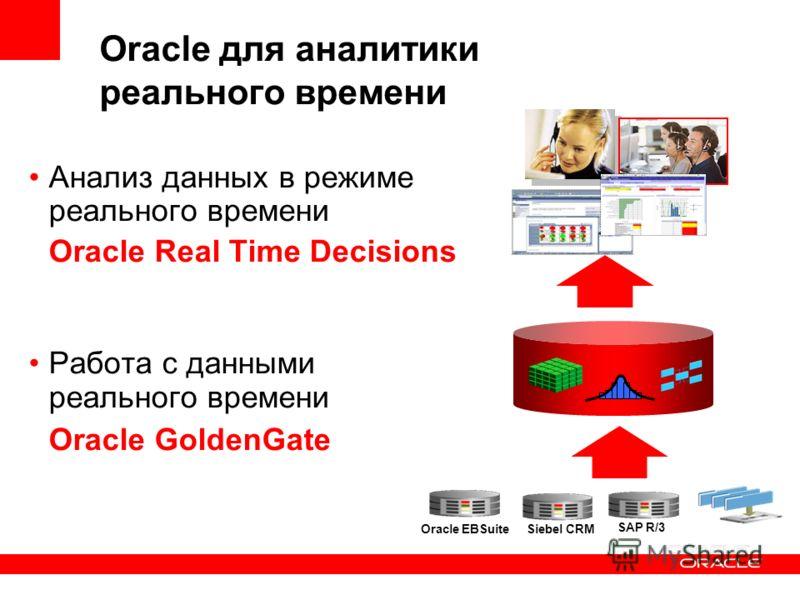 Oracle для аналитики реального времени Анализ данных в режиме реального времени Oracle Real Time Decisions Работа с данными реального времени Oracle GoldenGate Siebel CRM Oracle EBSuite SAP R/3