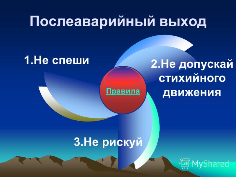 Послеаварийный выход Правила 1.Не спеши 2.Не допускай стихийного движения 3.Не рискуй