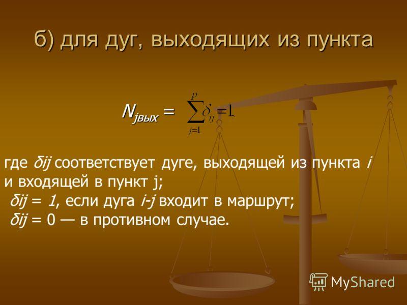 б) для дуг, выходящих из пункта N jвых = N jвых = где δij соответствует дуге, выходящей из пункта i и входящей в пункт j; δij = 1, если дуга i-j входит в маршрут; δij = 0 в противном случае.