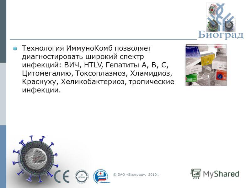 © ЗАО «Биоград», 2010г.12 Технология ИммуноКомб позволяет диагностировать широкий спектр инфекций: ВИЧ, HTLV, Гепатиты А, В, С, Цитомегалию, Токсоплазмоз, Хламидиоз, Краснуху, Хеликобактериоз, тропические инфекции.