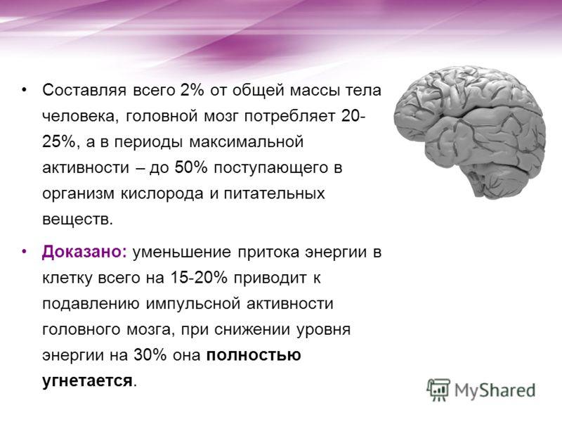 Составляя всего 2% от общей массы тела человека, головной мозг потребляет 20- 25%, а в периоды максимальной активности – до 50% поступающего в организм кислорода и питательных веществ. Доказано: уменьшение притока энергии в клетку всего на 15-20% при