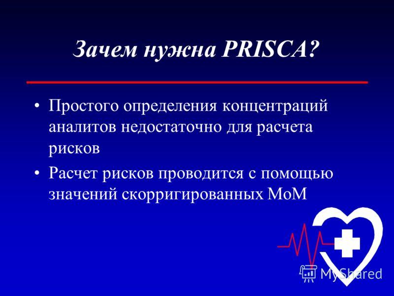 Зачем нужна PRISCA? Простого определения концентраций аналитов недостаточно для расчета рисков Расчет рисков проводится с помощью значений скорригированных MoM