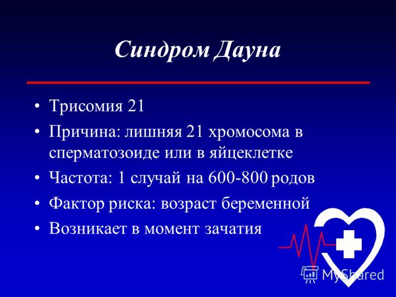 Синдром Дауна Трисомия 21 Причина: лишняя 21 хромосома в сперматозоиде или в яйцеклетке Частота: 1 случай на 600-800 родов Фактор риска: возраст беременной Возникает в момент зачатия