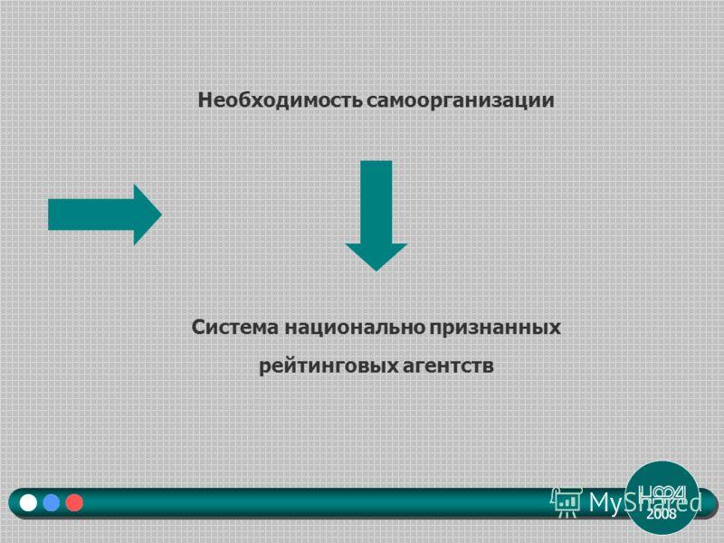 2008 Необходимость самоорганизации Система национально признанных рейтинговых агентств