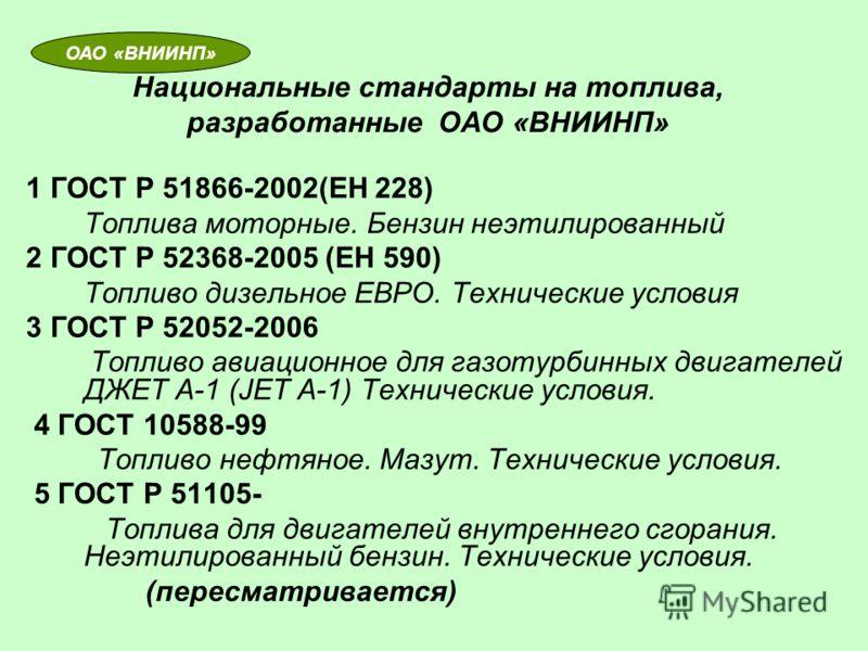 Национальные стандарты на топлива, разработанные ОАО «ВНИИНП» 1 ГОСТ Р 51866-2002(ЕН 228) Топлива моторные. Бензин неэтилированный 2 ГОСТ Р 52368-2005 (ЕН 590) Топливо дизельное ЕВРО. Технические условия 3 ГОСТ Р 52052-2006 Топливо авиационное для га
