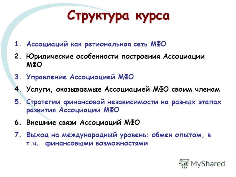 1.Ассоциаций как региональная сеть МФО 2.Юридические особенности построения Ассоциации МФО 3.Управление Ассоциацией МФО 4.Услуги, оказываемые Ассоциацией МФО своим членам 5.Стратегии финансовой независимости на разных этапах развития Ассоциации МФО 6