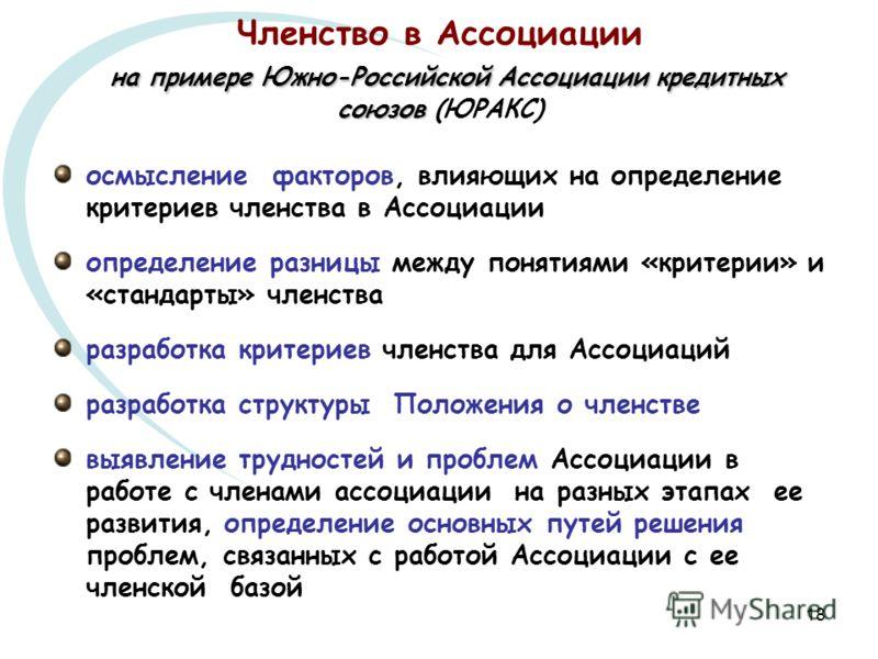 18 на примере Южно-Российской Ассоциации кредитных союзов Членство в Ассоциации на примере Южно-Российской Ассоциации кредитных союзов (ЮРАКС) осмысление факторов, влияющих на определение критериев членства в Ассоциации определение разницы между поня