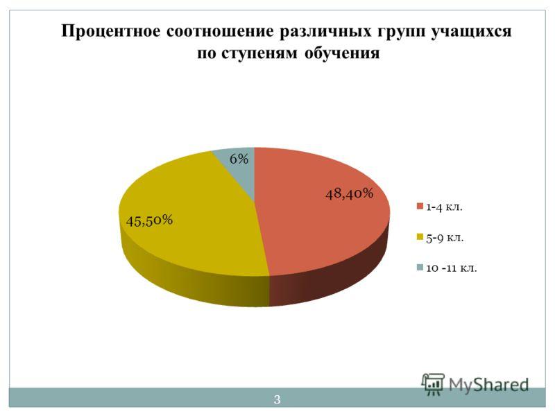 Процентное соотношение различных групп учащихся по ступеням обучения 3