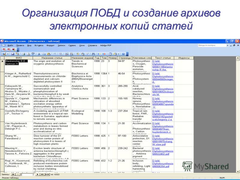 Организация ПОБД и создание архивов электронных копий статей