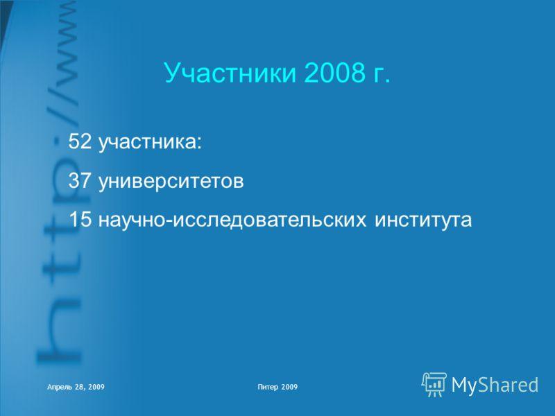 Апрель 28, 2009Питер 2009 Участники 2008 г. 52 участника: 37 университетов 15 научно-исследовательских института
