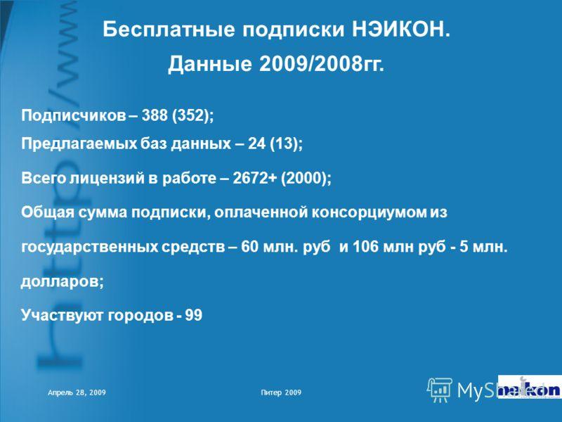 Апрель 28, 2009Питер 2009 Подписчиков – 388 (352); Предлагаемых баз данных – 24 (13); Всего лицензий в работе – 2672+ (2000); Общая сумма подписки, оплаченной консорциумом из государственных средств – 60 млн. руб и 106 млн руб - 5 млн. долларов; Учас
