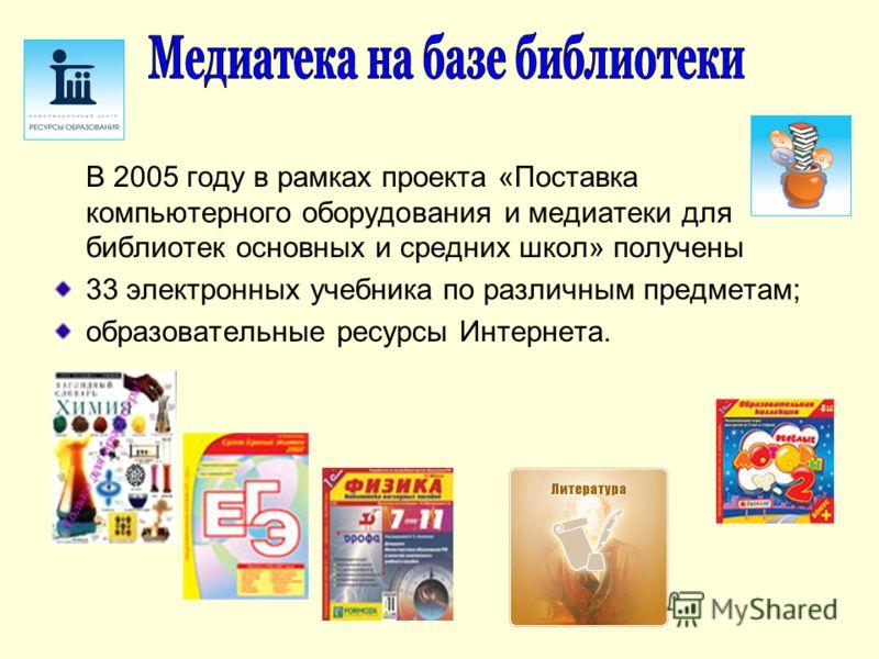 В 2005 году в рамках проекта «Поставка компьютерного оборудования и медиатеки для библиотек основных и средних школ» получены 33 электронных учебника по различным предметам; образовательные ресурсы Интернета.