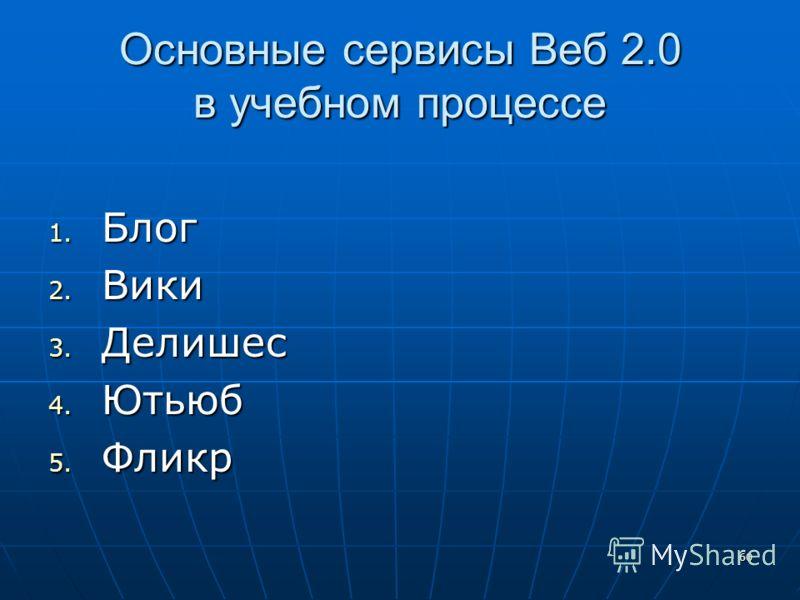 60 Основные сервисы Веб 2.0 в учебном процессе 1. Блог 2. Вики 3. Делишес 4. Ютьюб 5. Фликр