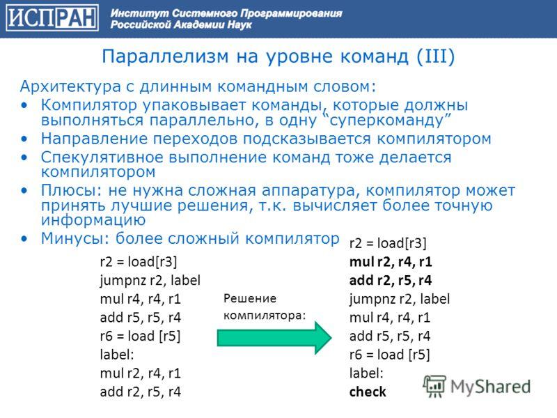 Параллелизм на уровне команд (III) Архитектура с длинным командным словом: Компилятор упаковывает команды, которые должны выполняться параллельно, в одну суперкоманду Направление переходов подсказывается компилятором Спекулятивное выполнение команд т