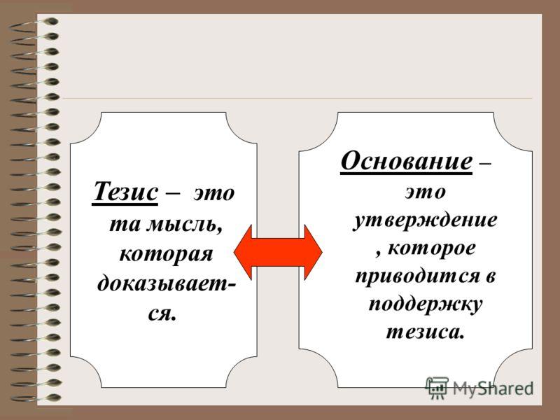 Тезис – это та мысль, которая доказывает- ся. Основание – это утверждение, которое приводится в поддержку тезиса.