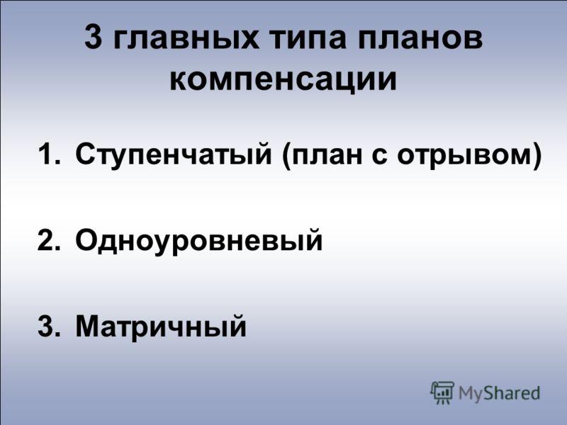 3 главных типа планов компенсации 1.Ступенчатый (план с отрывом) 2.Одноуровневый 3.Матричный