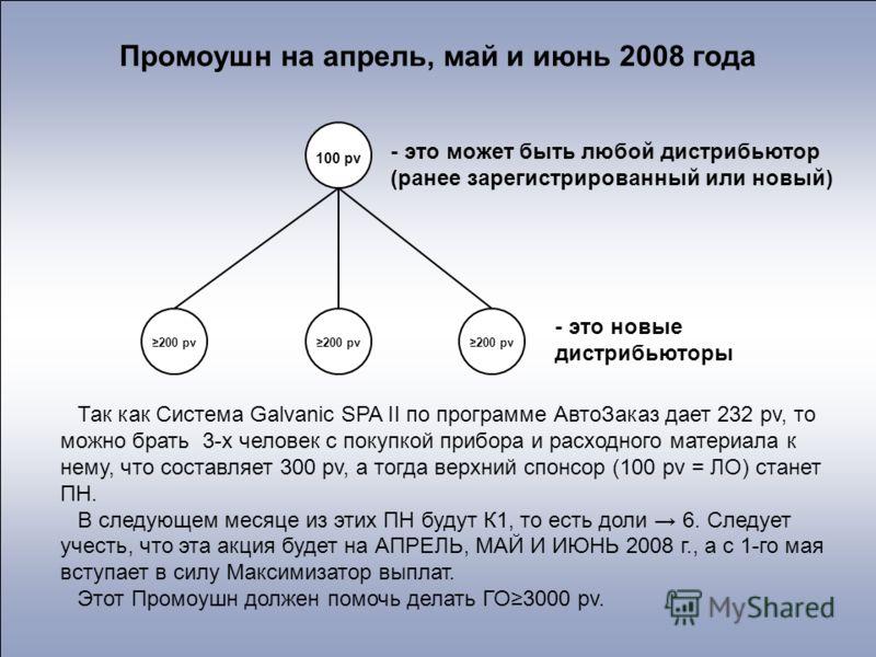100 pv 200 pv - это может быть любой дистрибьютор (ранее зарегистрированный или новый) - это новые дистрибьюторы Промоушн на апрель, май и июнь 2008 года Так как Система Galvanic SPA II по программе АвтоЗаказ дает 232 pv, то можно брать 3-х человек с