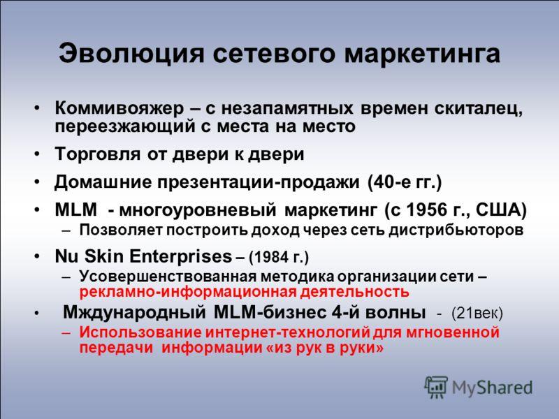 Эволюция сетевого маркетинга Коммивояжер – с незапамятных времен скиталец, переезжающий с места на место Торговля от двери к двери Домашние презентации-продажи (40-е гг.) MLM - многоуровневый маркетинг (с 1956 г., США) –Позволяет построить доход чере